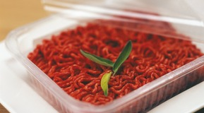 Minced meat in a box, Close up.